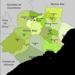 Mapa con los pueblos de la Marina Baja